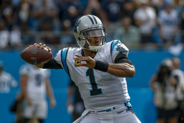 Carolina Panthers quarterback Cam Newton looks to pass during a game against the Dallas Cowboys in Charlotte, North Carolina on September 9, 2018. Photo by Nell Redmond/UPI