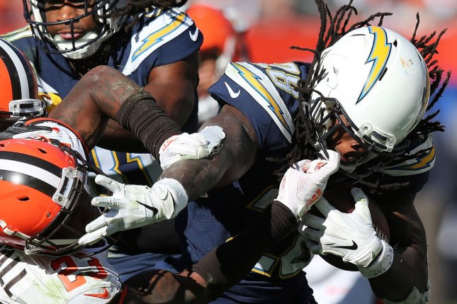 Los Angeles Chargers running back Melvin Gordon III tries to escape a tackle during a game against the Cleveland Browns at First Energy Stadium on October 14, 2018. Photo by Aaron Josefczyk/UPI