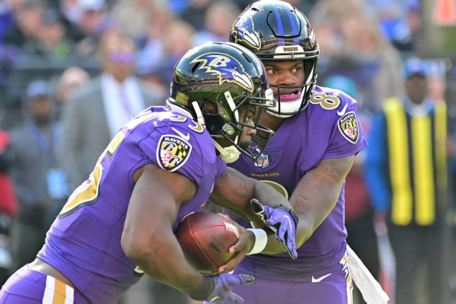 Baltimore Ravens running back Gus Edwards (L) averaged 93 rushing yards per game in his final seven games during the 2018 season. File Photo by David Tulis/UPI