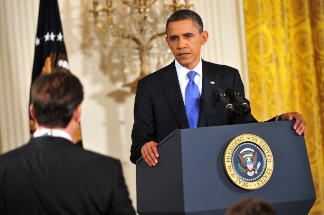 U.S. President Barack Obama takes a question during a press conference at the White House in Washington, Oct. 6, 2011. UPI/Kevin Dietsch