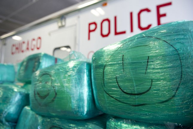 About 16,000 pounds of marijuana, seized by authorities, is shown at a Chicago Police Department warehouse. Tuesday, 63 percent of voters in Cook County, Ill., voted in favor of legalizing marijuana for recreational use. The state legalized medicinal use in 2013. File Photo by Brian Kersey/UPI