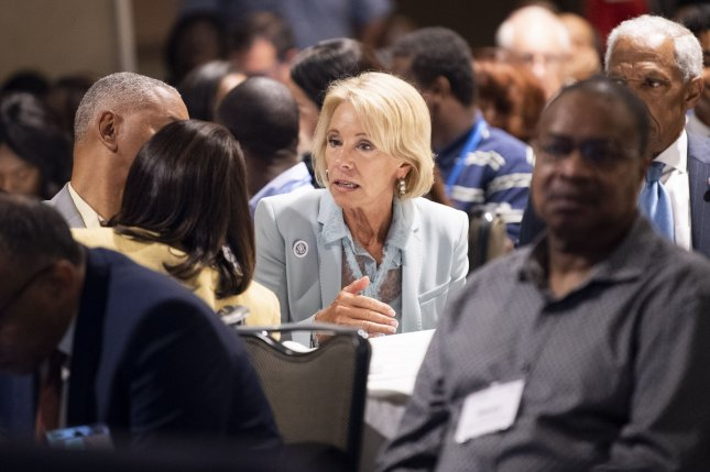 Education Secretary Betsy DeVos speaks with attendees at the National Historically Black Colleges and Universities Week Conference, in Washington, D.C., on September 10. Photo by Kevin Dietsch/UPI