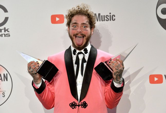 Rapper Post Malone has the No. 1 album in the United States -- Hollywood's Bleeding. File Photo by Jim Ruymen/UPI