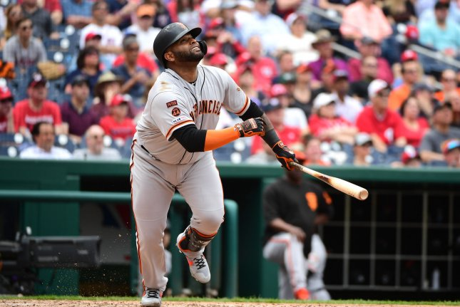 San Francisco Giants infielder Pablo Sandoval was hitting .220 with one home run and six RBIs this season. File Photo by Kevin Dietsch/UPI