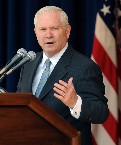 Defense Secretary Robert Gates delivers remarks at the Army birthday cake cutting ceremony in honor of the U.S. Army's 235th birthday at the Pentagon's Center Courtyard in Arlington, Virginia, on June 14, 2010. UPI/Roger L. Wollenberg