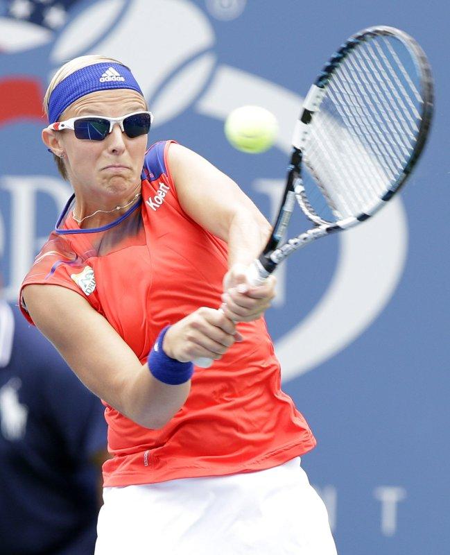Kirsten Flipkens, shown at the 2013 U.S. Open, was ousted by qualifier Garbine Muguruza in Thursday's quarterfinal play at the Hobart International tennis tournament in Australia UPI/John Angelillo