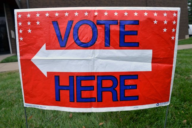 A vote here sign is seen on election day in Louisville, Kentucky on November 4, 2014. UPI/Kevin Dietsch