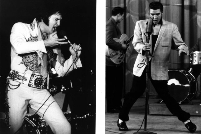 Elvis Presley at one of his final performances in 1977 and at a healthier stage in his life in 1956. UPI File Photos