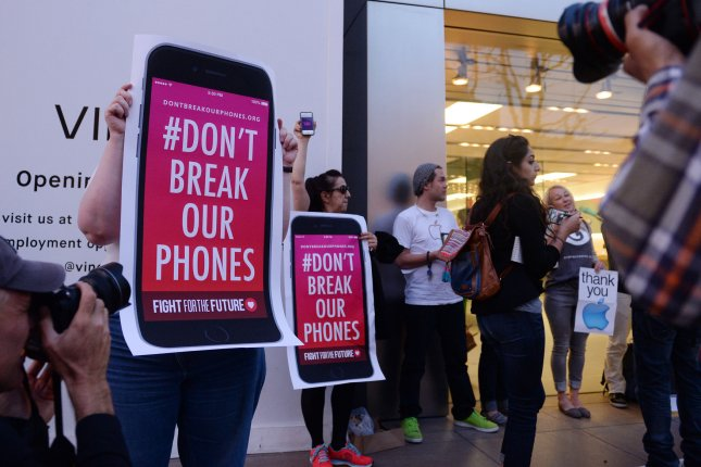 Apple has revealed the FBI demanded the company's help to unlock iPhones at least a dozen times since last fall, reinforcing the tech giant's argument that the FBI's request in the San Bernardino massacre case will lead to further applications. Photo by Jim Ruymen/UPI