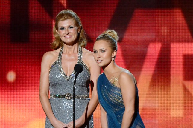 Nashville actresses Connie Britton (L) and Hayden Panettiere appear onstage at the 64th Primetime Emmys in Los Angeles on September 23, 2012. File Photo by Jim Ruymen/UPI
