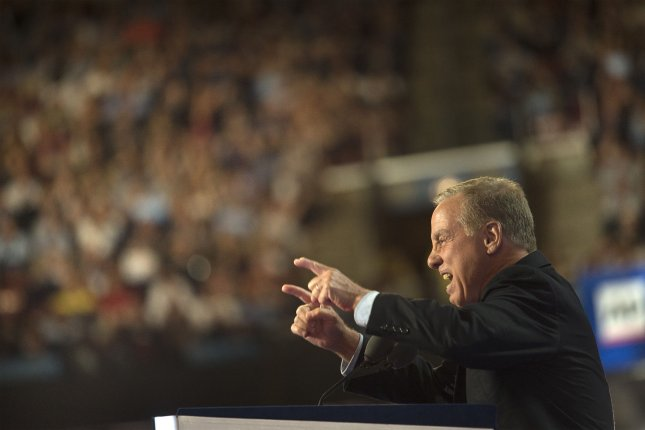 Former Vermont Gov. Howard Dean of Vermont speaks at the Democratic National Convention in Philadelphia on July 26. Friday, he announced he will exit the race to become Democratic National Committee chairman -- a post he held between 2005 and 2009. File Photo by Pete Marovich/UPI