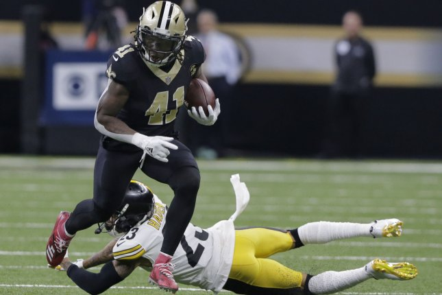 New Orleans Saints running back Alvin Kamara (41) gets past Pittsburgh Steelers cornerback Joe Haden (23) and takes a Drew Brees pass 31 yards with seconds left in the second half on Sunday at the Mercedes-Benz Superdome in New Orleans. Photo by AJ Sisco/UPI