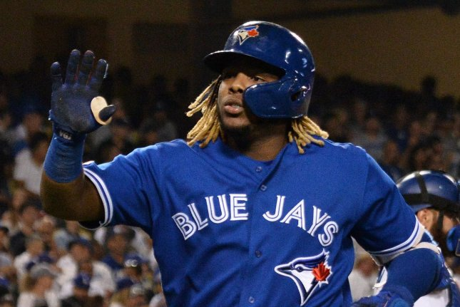 Third baseman Vladimir Guerrero Jr. and the Toronto Blue Jays haven't played home games in Toronto since 2019 due to COVID-19 travel restrictions at the United States-Canada border. File Photo by Jim Ruymen/UPI