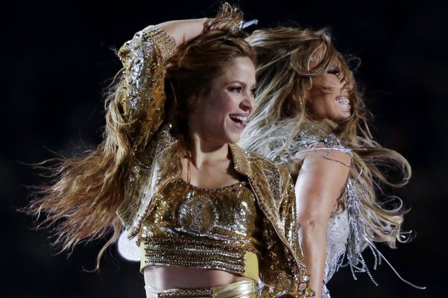 Shakira (L), pictured with Jennifer Lopez, released a video for Don't Wait Up, her first new single in seven months. File Photo by John Angelillo/UPI