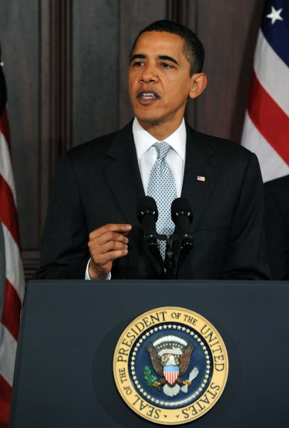 U.S. President Barack Obama speaks about Tax Day in the Eisenhower Executive Office Building adjacent to the White House on April 15, 2009. Obama said his policies reduced taxes for 95 percent of Americans and that in the future he would seek to simplify the tax code and make it more fair. (UPI Photo/Roger L. Wollenberg)