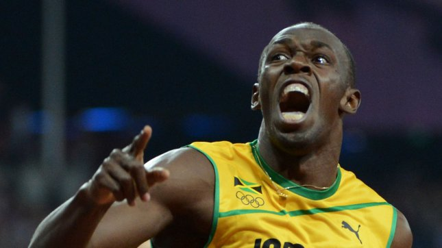 Jamaica's Usain Bolt screams in jubilation after crossing the finish line to win the gold medal in the Men's 200M Final at Olympic Stadium during the London 2012 Summer Olympics in Olympic Park in Stratford, London on August 9 2012. Bolt became the first Olympican to win the 100M and 200M race in consecutive Olympics. His time was 19.32. Jamaica swept the race with teammates Yohan Blake getting the silver and Warren Weir the bronze medal. UPI/Pat Benic