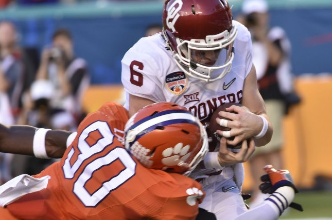 fc73bddae Oklahoma quarterback Baker Mayfield (6) is sacked by Clemson defensive end  Shaq Lawson (90) in the first quarter of the College Semifinal Championship  ...