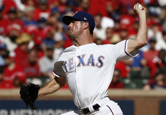 Cole Hamels and the Texas Rangers shut down the sliding Houston Astros on Friday. Photo by Mike Stone/UPI