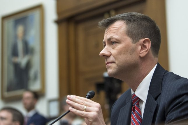 Peter Strzok testifies Thursday at a House hearing on FBI and Department of Justice actions surrounding the 2016 election, at which FBI agent Peter Strzok testified publicly for the first time. Photo by Kevin Dietsch/UPI