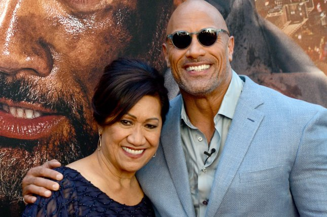 Dwayne Johnson (R) with his mother Ata Johnson. The actor displayed on Instagram the first look at Idris Elba in his upcoming Fast and Furious spinoff. File Photo by Dennis Van Tine/UPI