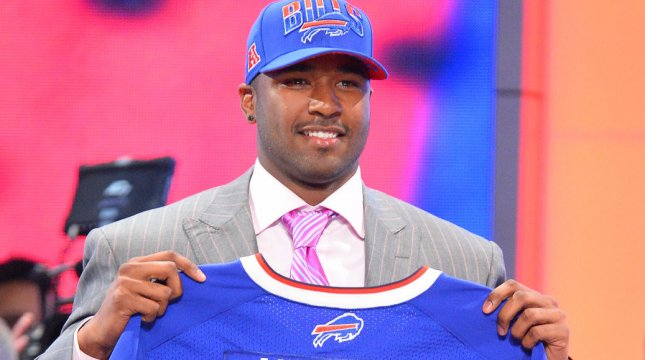 EJ Manuel, quarterback from Florida State, holds up a Bills Jersey after the Buffalo Bills select him as the #16 overall pick in the 2013 NFL Draft. Manuel suffered an LCL strain that will put him out up to six weeks. UPI /Rich Kane
