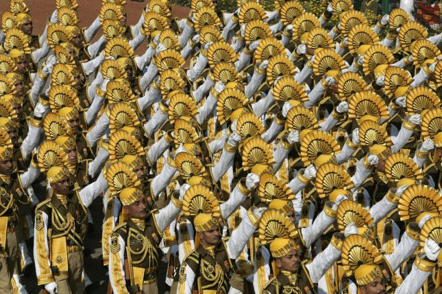 Indian troops march during the Republic Day military parade in New Delhi on January 26, 2007. Republic Day marks the day in 1950 when the new constitution came in effect after India gained independence from Great Britain in 1947. File Photo by Anatoli Zhdanov/UPI