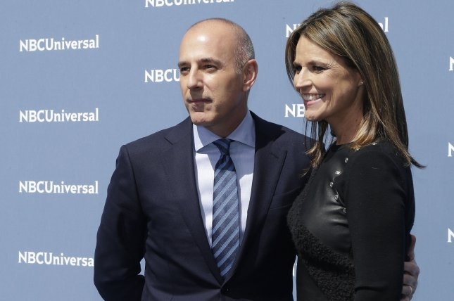 Savannah Guthrie (R) and Matt Lauer at the NBCUniversal Upfront on May 16, 2016. File Photo by John Angelillo/UPI