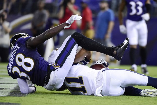 Baltimore Ravens cornerback Stanley Jean-Baptiste sat out last season with a broken forearm. He agreed to re-sign with the Ravens on Tuesday. File Photo by David Tulis/UPI