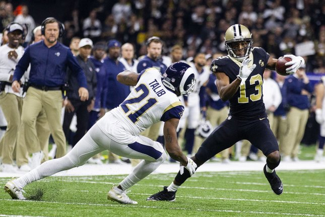 New Orleans Saints wide receiver Michael Thomas (13) has become one of the best pass-catching threats in football. He is entering the final year of his rookie contract. File Photo by Mark Wallheiser/UPI