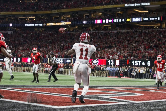 Former Alabama Crimson Tide wide receiver Henry Ruggs III (11) suffered a cut to his thigh while moving items into a trailer. File Photo by Mark Wallheiser/UPI