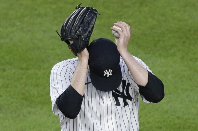 New York Yankees pitcher Jordan Montgomery allowed two runs in a start against the Toronto Blue Jays before his bullpen surrendered 10 runs in the sixth inning for a loss Monday in Buffalo, N.Y. File Photo by John Angelillo/UPI