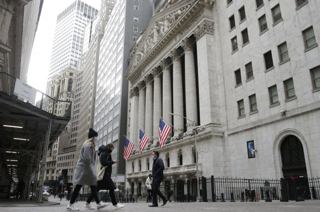 The Dow Jones Industrial Average fell 121 points as all three major U.S. indexes declined for a second consecutive day behind losses in major tech stocks. Photo by John Angelillo/UPI