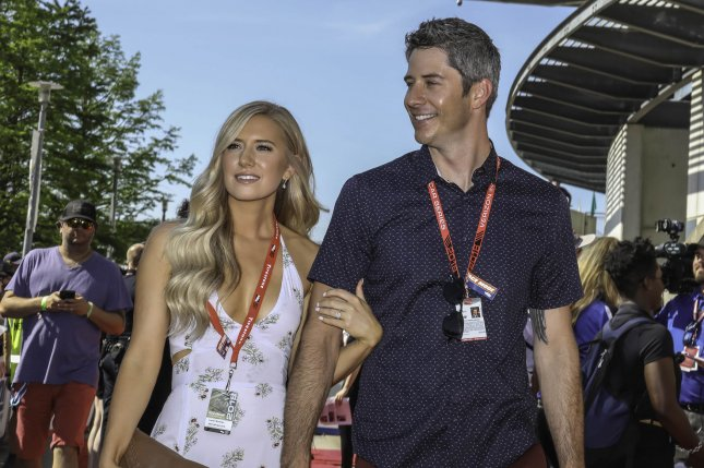 Lauren Burnham (L) was hospitalized following the birth of her twins with Arie Luyendyk, Jr. File Photo by Edwin Locke/UPI