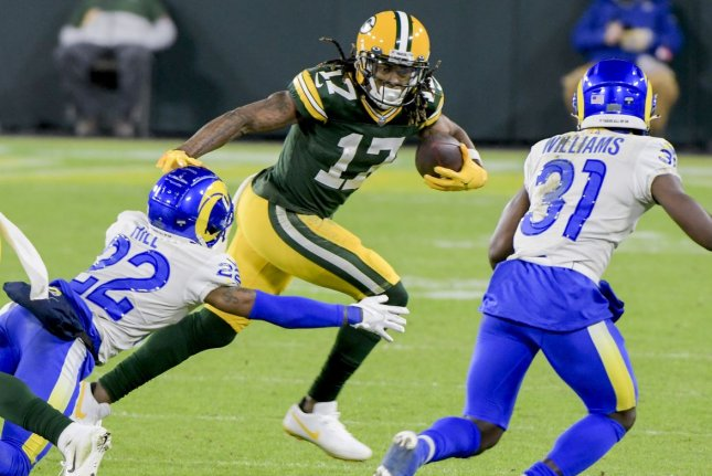 Green Bay Packers wide receiver Davante Adams (17) was the No. 1 fantasy football wide receiver in 2020 and should be among the leaders at the position in 2021. File Photo by Mark Black/UPI