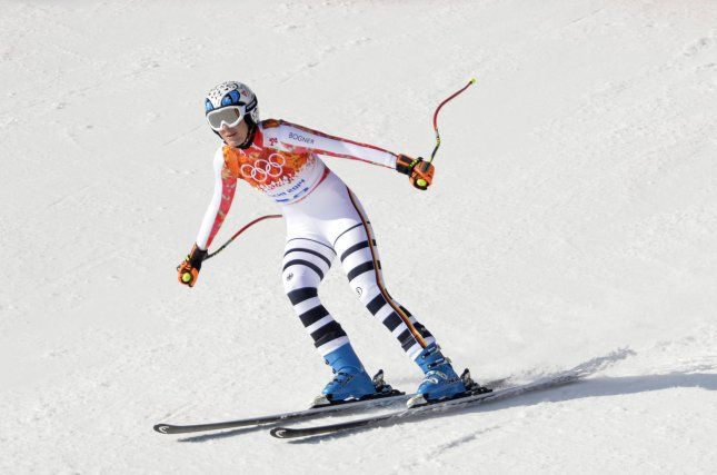 Germany's Maria Hoefl-Riesch finishes the downhill skiing portion of the Ladies' Super Combined at the Sochi 2014 Winter Olympics on February 10, 2014 in Krasnaya Polyana, Russia. Hoefl-Riesch won a gold medal in the event. UPI/Brian Kersey