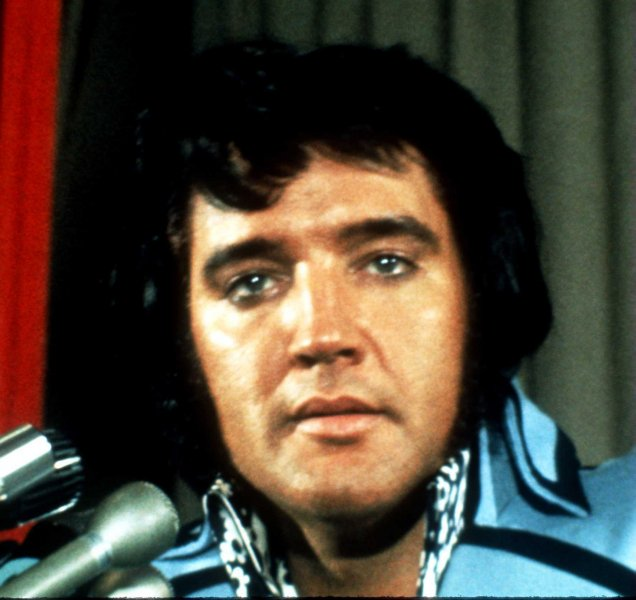 A file photograph of Elvis Presley shortly before his death on August 16, 1977. Today marks the 29th anniversary of his death. (UPI Photo/FILE)