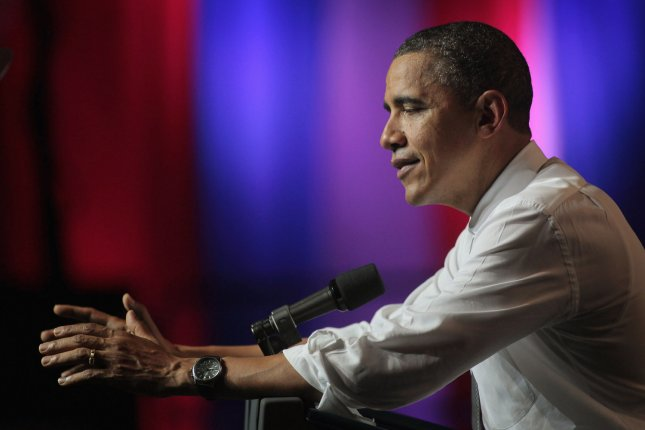 U. S. President Barack Obama speaks to supporters during a fundraiser at the Aragon Ballroom on August 3, 2011 in Chicago, Illinois. The fundraiser, billed as a birthday celebration for the President who turns 50 years old tomorrow, featured entertainment by Herbie Hancock and Jennifer Hudson and others. UPI/Scott Olson/Pool