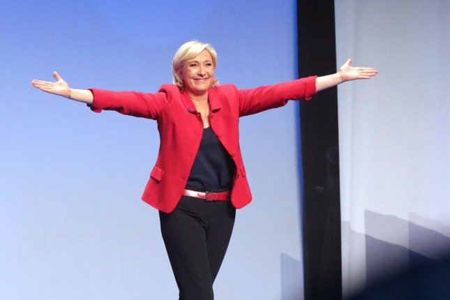 Far-right French presidential candidate Marine Le Pen speaks at a campaign rally in Paris on Monday. For the first time, she called for a moratorium on immigration to France. Photo by Maya Vidon-White/UPI