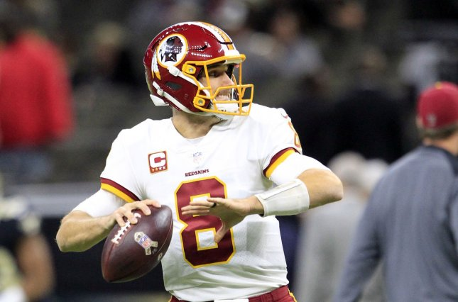 Washington Redskins quarterback Kirk Cousins (8) warms up before the game with the New Orleans Saints at the Mercedes-Benz Superdome in New Orleans November 19, 2017. File photo by AJ Sisco/UPI