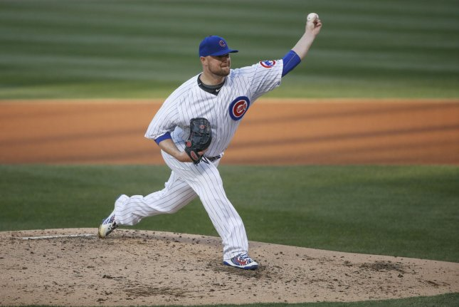 Chicago Cubs starting pitcher Jon Lester delivers against the Colorado Rockies in the fourth inning on April 30, 2018 at Wrigley Field in Chicago. Photo by Kamil Krzaczynski/UPI