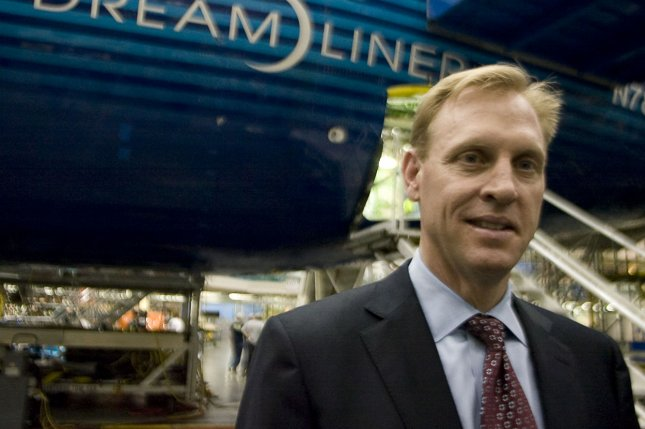 Patrick Shanahan speaks to reporters May 19 during media day at the Boeing Commercial Airlines Factory in Everett, Washington. Photo by Jim Bryant/UPI