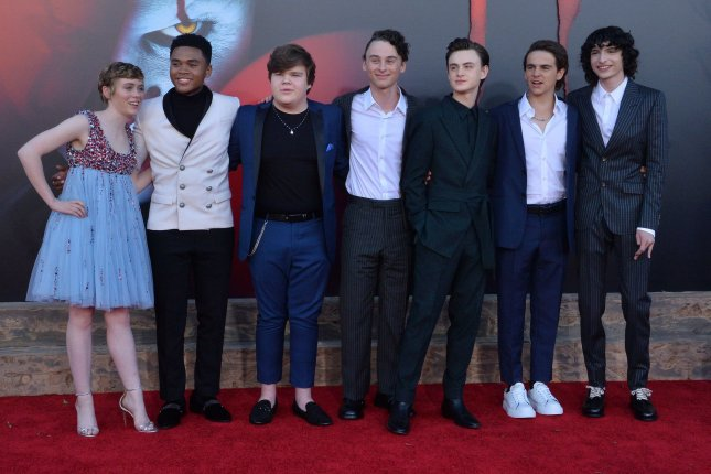 Cast members Sophia Lillis, Chosen Jacobs, Jeremy Ray Taylor, Wyatt Oleff, Jaeden Martell, Jack Dylan Grazer and Finn Wolfhard at the premiere of It Chapter Two in Los Angeles on August 26. Photo by Jim Ruymen/UPI