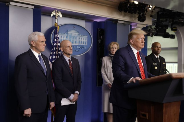 President Donald Trump gives an update Thursday from the White House on the federal response to the coronavirus disease. Photo by Yuri Gripas/UPI