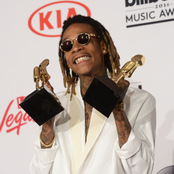 Wiz Khalifa appears backstage with the Top Hot 100 Song Award for See You Again during the annual Billboard Music Awards held at T-Mobile Arena in Las Vegas on May 22, 2016. The rapper turns 33 on September 8. File Photo by Jim Ruymen/UPI