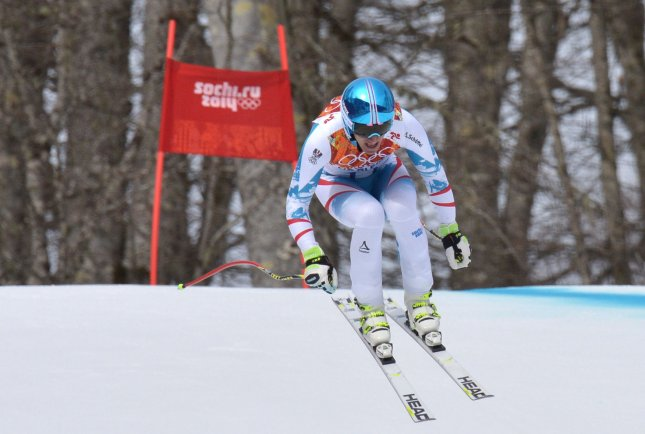 Austrai's Matthias Mayer competes in the men's downhill skiing final at the Sochi 2014 Winter Olympics on February 9, 2014 in Krasnaya Polyana, Russia. Mayer won the gold medal. UPI/Kevin Dietsch