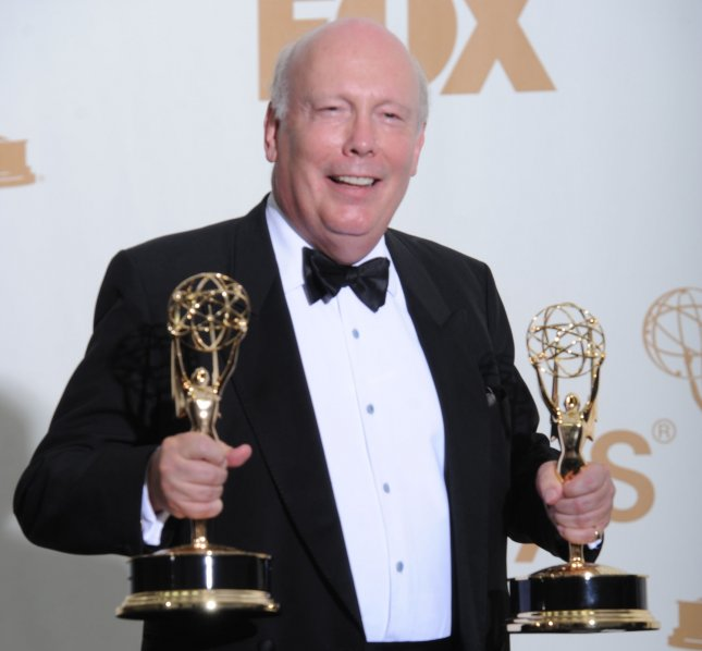 Downtown Abbey writer Julian Fellowes hold Emmys for best miniseries or movie and best writing for a miniseries or movie at the 63rd Primetime Emmy Awards at the Nokia Theatre in Los Angeles on September 18, 2011. UPI/Jayne Kamin Oncea