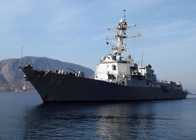 The U.S. Navy destroyer Bainbridge is seen in Crete, Greece in this January 10, 2009 handout photo. The U.S. Navy has disputed the Bainbridge to assist the U.S. cargo ship Maersk Alabama that has been hijacked by pirates off the coast of Somalia. The crew of 20 Americans have been able to retake control of their vessel but the captain remains in the custody of the pirates. (UPI Photo/Paul Farley/U.S. Navy)