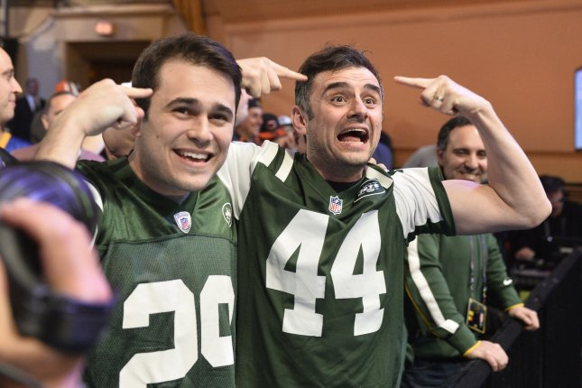 New York Jets fans react during the 2015 NFL Draft. The Jets currently have the No. 6 pick in the 2017 NFL Draft, set for Apriil 27 in Philadelphia, Pa. File photo by Brian Kersey/UPI