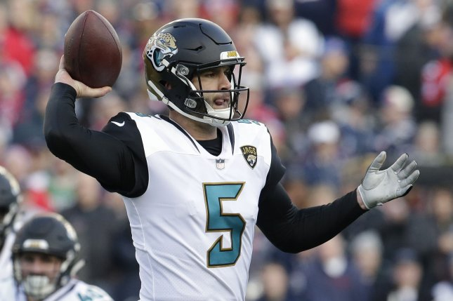 Jacksonville Jaguars quarterback Blake Bortles throws against the New England Patriots in the second quarter of the AFC Championship Game on January 21 at Gillette Stadium in Foxborough, Massachusetts. Photo by John Angelillo/UPI