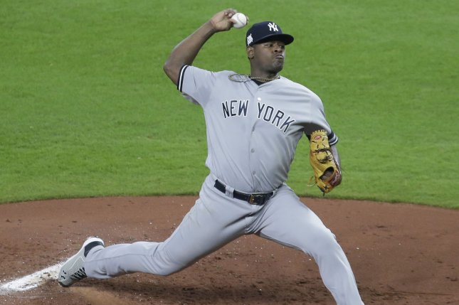 New York Yankees starting pitcher Luis Severino throws against the Houston Astros in the first inning of Game 6 of the American League Championship Series on October 20, 2017 at Minute Maid Park in Houston. Photo by John Angelillo/UPI